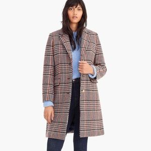 J. Crew New  Plaid Single Breasted Wool Top Coat